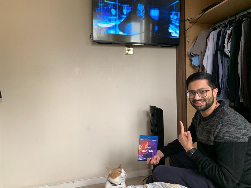 Priyal and Leo prepare to watch Keanu